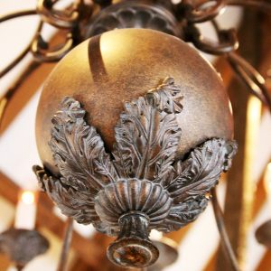Close up detail of the chandelier featured in the restaurant area
