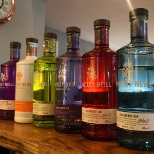 Colourful selection of falvoured bottles of gin