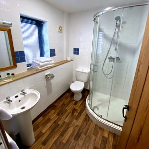 Bright and clean white en suite bathroom with shower and wooden details